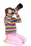 Young girl taking photos Royalty Free Stock Photos