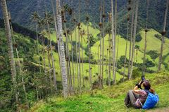 Young girl taking photos in Cocora valley in a cloudy day. The Cocora valley - Valle de Cocora in spanish - is a valley in the department of Quindio in the stock photography