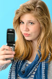 Young girl taking picture of herself Stock Images