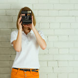 Young girl taking picture Royalty Free Stock Images