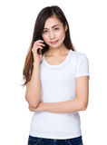 Young girl talk to cellphone Royalty Free Stock Image