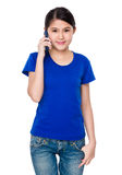 Young girl talk to cellphone Stock Photo