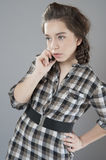 Young girl talking on a cell phone. Royalty Free Stock Photo