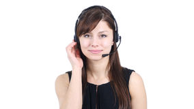 Young Girl Talking on Headphone, Call Center stock image