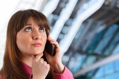 Young girl talking at phone royalty free stock photo
