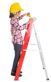 Young Girl With Tape Measure III Royalty Free Stock Photography