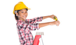 Young Girl With Tape Measure VIII Royalty Free Stock Image