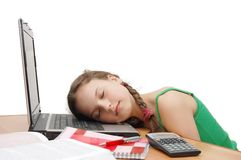 The young girl the teenager has a rest from study Royalty Free Stock Image