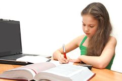 The young girl the teenager learns lessons Stock Photo