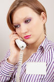 Young girl with a telephone handset Royalty Free Stock Image