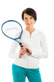 Young girl with tennis racket and bal isolated Stock Images