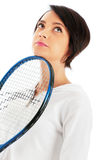 Young girl with tennis racket and bal isolated Royalty Free Stock Photography