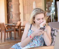 Young girl texting Royalty Free Stock Photo