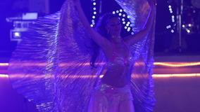 Young girl  in theatrical costume and dances belly dance stock footage