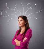 Young girl thinking with arrows overhead Stock Images