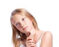 Young Girl Thinking or Looking Royalty Free Stock Image
