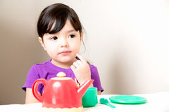 Young Girl Thinking Over Tea Stock Photos
