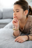 Young girl with thoughtful look Royalty Free Stock Photography