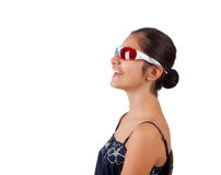 Young girl with three-dimensional eyeglasses Stock Images