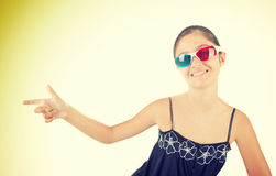 Young girl with three-dimensional eyeglasses Royalty Free Stock Image