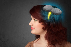 Young girl with thunderstorm lightning headache Royalty Free Stock Photography