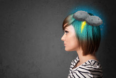 Young girl with thunderstorm lightning headache Stock Photos