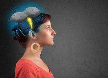 Young girl with thunderstorm lightning headache Royalty Free Stock Images