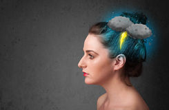 Young girl with thunderstorm lightning headache Royalty Free Stock Photo