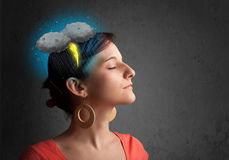 Young girl with thunderstorm lightning headache Royalty Free Stock Photos