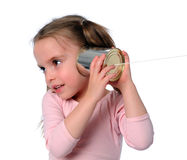 Young Girl With Tin Can Phone Royalty Free Stock Image