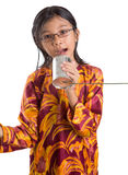 Young Girl With Tin Can Telephone VIII Stock Photos