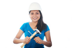 Young girl with tools Royalty Free Stock Images