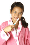 Young girl with toothbrush, isolated Stock Photography