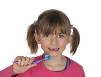 Young girl with toothbrush Stock Photography