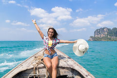 Young Girl Tourist Sail Long Tail Thailand Boat Ocean Sea Vacation Travel Trip Stock Images