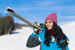 Young Girl Tourist Snowboard Ski Resort Snow Winter Mountain Happy Smiling Woman On Holiday Stock Photography