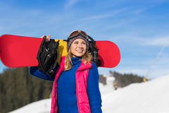 Young Girl Tourist Snowboard Ski Resort Snow Winter Mountain Happy Smiling Woman On Holiday. Extreme Sport Vacation royalty free stock photography
