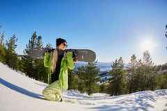 Young Girl Tourist Snowboard Ski Resort Snow Winter Mountain Happy Smiling Woman On Holiday Extreme Sport Vacation Stock Photography