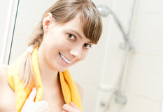 Young girl with towel Royalty Free Stock Photography
