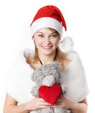 Young girl with toy Stock Images