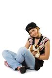 Young girl with toy dog. Isolate on white Stock Image