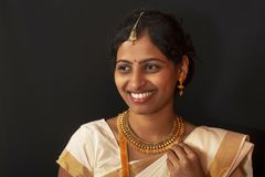 Young girl in traditional Kerala saree and jewelry.  stock image