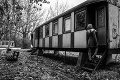 Young Girl and Train: Black and White Stock Images