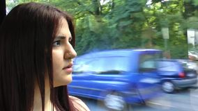 Young Girl in the Train stock footage