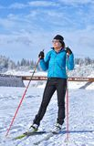 Young girl  training at Cheile Gradistei Biathlon Arena - Cross country skiing Royalty Free Stock Photography