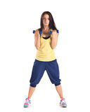 Young  girl  training with dumbbels Stock Images