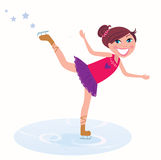 Young girl training figure skating. Vector Illustration of figure skating cute girl training on the ice Stock Photo
