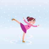Young girl training ice figure skating. Vector Illustration of figure skating small girl training on Ice Stock Photography