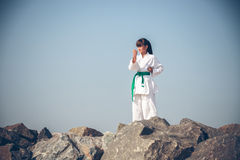 Young girl training karate Stock Photography