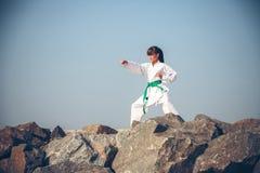 Young girl training karate Stock Image